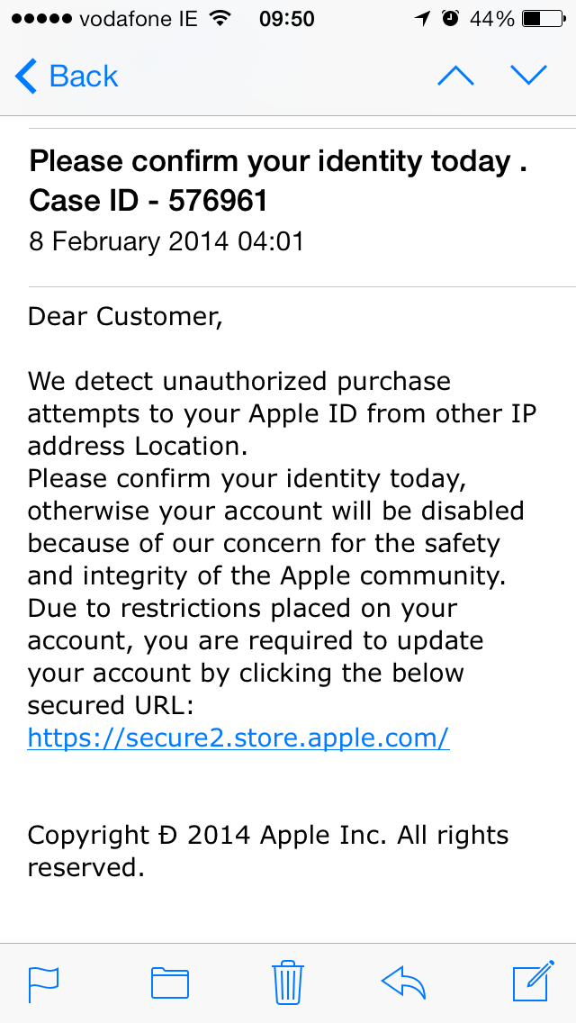 Email Scam Watch – Apple – February 2014 | Dash Dot Development